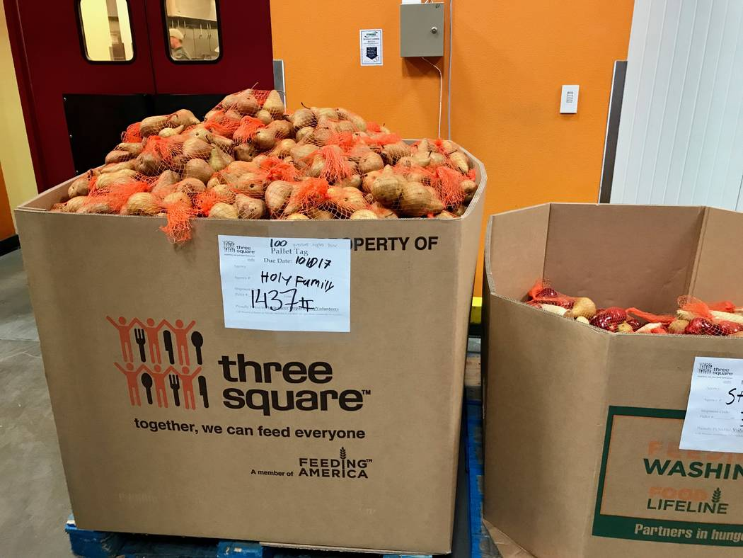 Three Square also recovers food from farms in other states, often California, that would otherwise be thrown away. Volunteers sift through bulk shipments and repackage items for easier distributio ...