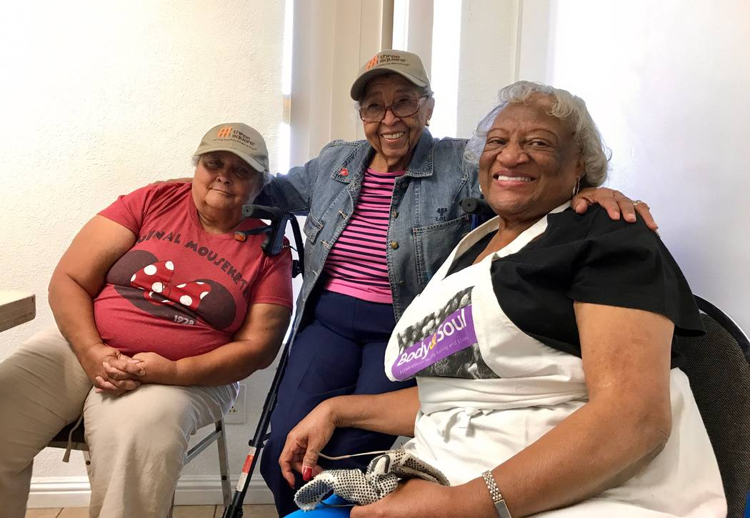 From left to right: Uriel Howard, Nettie Jamison and Joan Crawford, three coordinators for the food pantry at First AME Church in North Las Vegas. (Madelyn Reese/View) @MadelynGReese