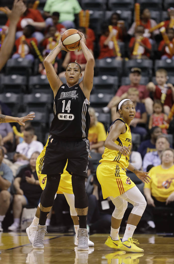 San Antonio Stars' Erika de Souza (14) in action during the second half of a WNBA basketball game against the Indiana Fever, Wednesday, July 12, 2017, in Indianapolis. San Antonio defeated Indiana ...