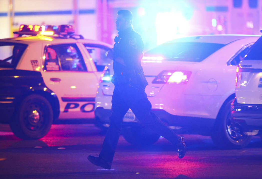 Las Vegas police respond during an active shooter situation on the Las Vegas Strip near Tropicana Avenue in Las Vegas on Sunday, Oct. 1, 2017. Chase Stevens Las Vegas Review-Journal @csstevensphoto