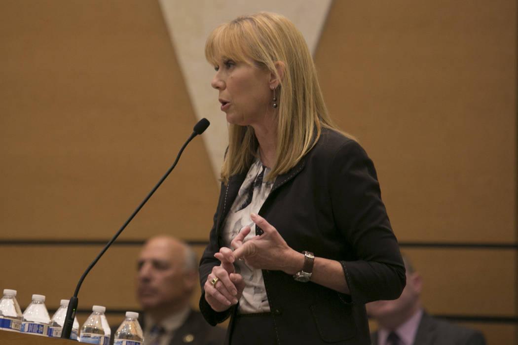 Las Vegas Planning Commissioner Christina Roushspeaks at Temple Sinai Tuesday, March 14, 2017, in Las Vegas.  (Bridget Bennett/Las Vegas Review-Journal) @bridgetkb