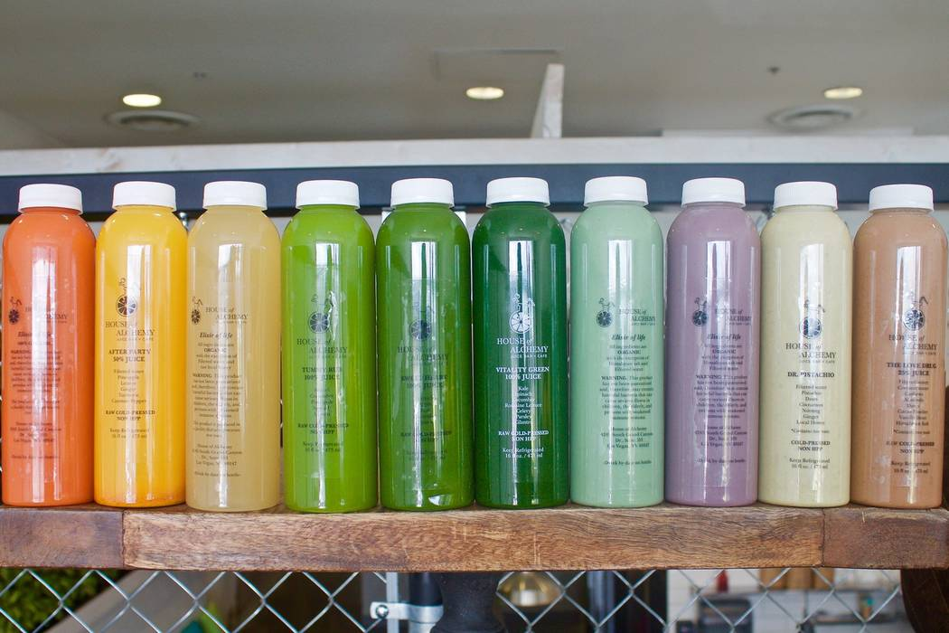 Juices and nut milk at House of Alchemy. Facebook