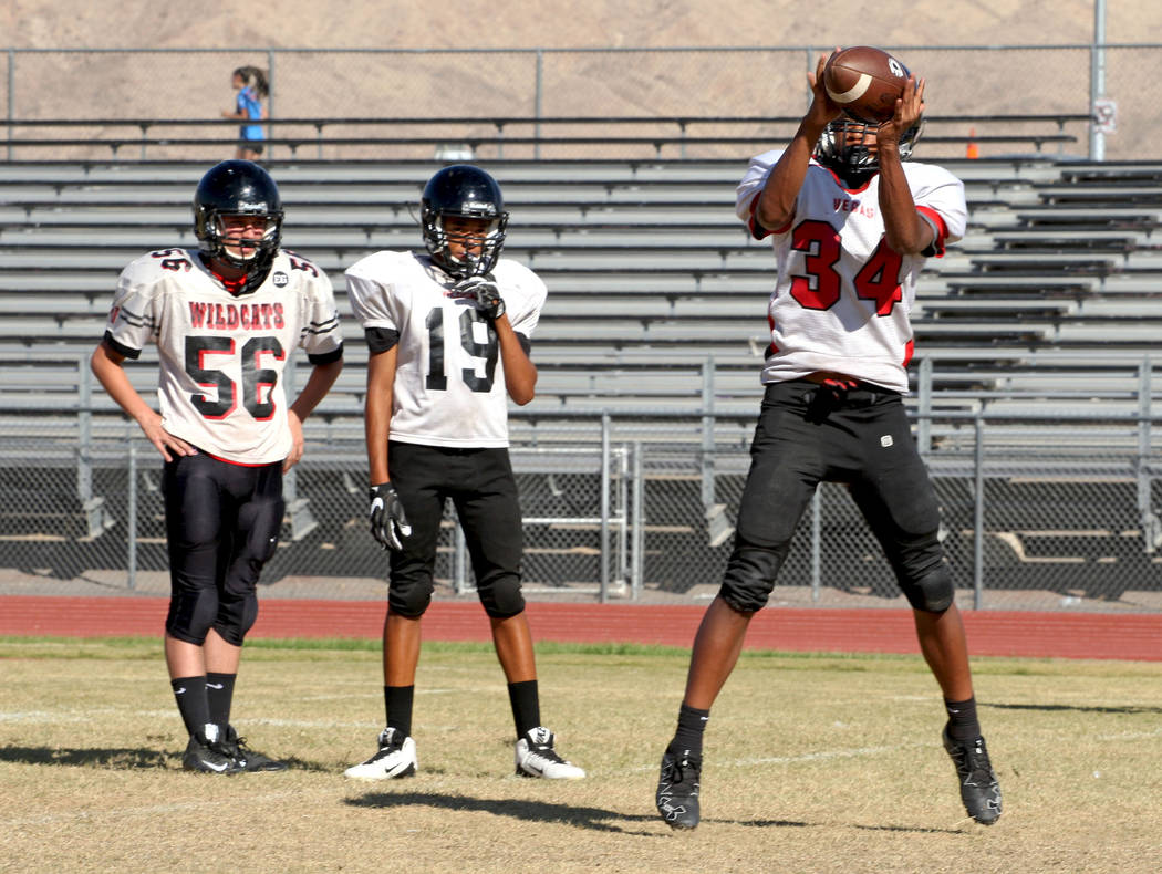1fd0fb2c8038 Defensive lineman Jose Chavez (34) catches a pass during the Wildcats s  football practice at