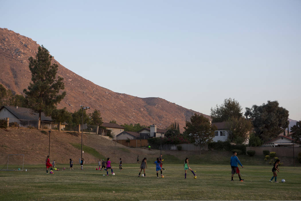 Children participate in soccer practice at Richard Rollins Community Park in Grand Terrace, California on Thursday, Oct. 12, 2017. Bridget Bennett Las Vegas Review-Journal @BridgetKBennett