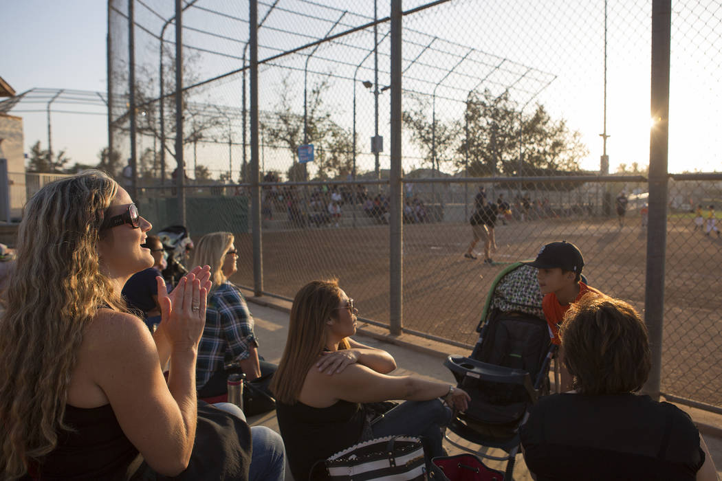 Parents cheer during a baseball game at Orange Terrace Community Park in Riverside, California on Friday, Oct. 13, 2017. Bridget Bennett Las Vegas Review-Journal @BridgetKBennett