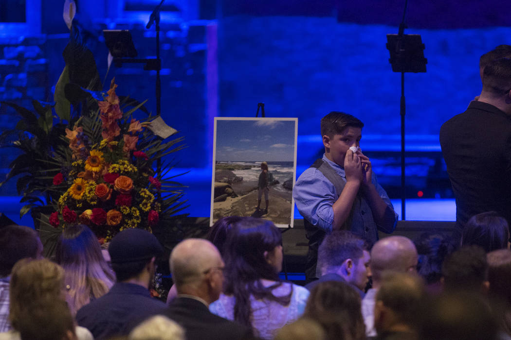 Family and friends gather for the funeral of Dana Gardner, 52, in Riverside, California on Saturday, Oct. 14, 2017. Gardner was among the 58 killed in the attack on the Route 91 festival on Oct. 1 ...