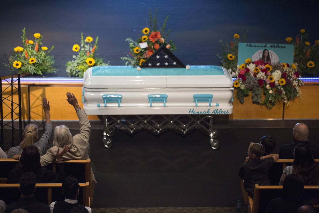Family and friends gather for the funeral of Hannah Ahlers, 34, from Beaumont, California at Harvest Christian Fellowship in Riverside, California on Friday, Oct. 13, 2017. Bridget Bennett Las Veg ...