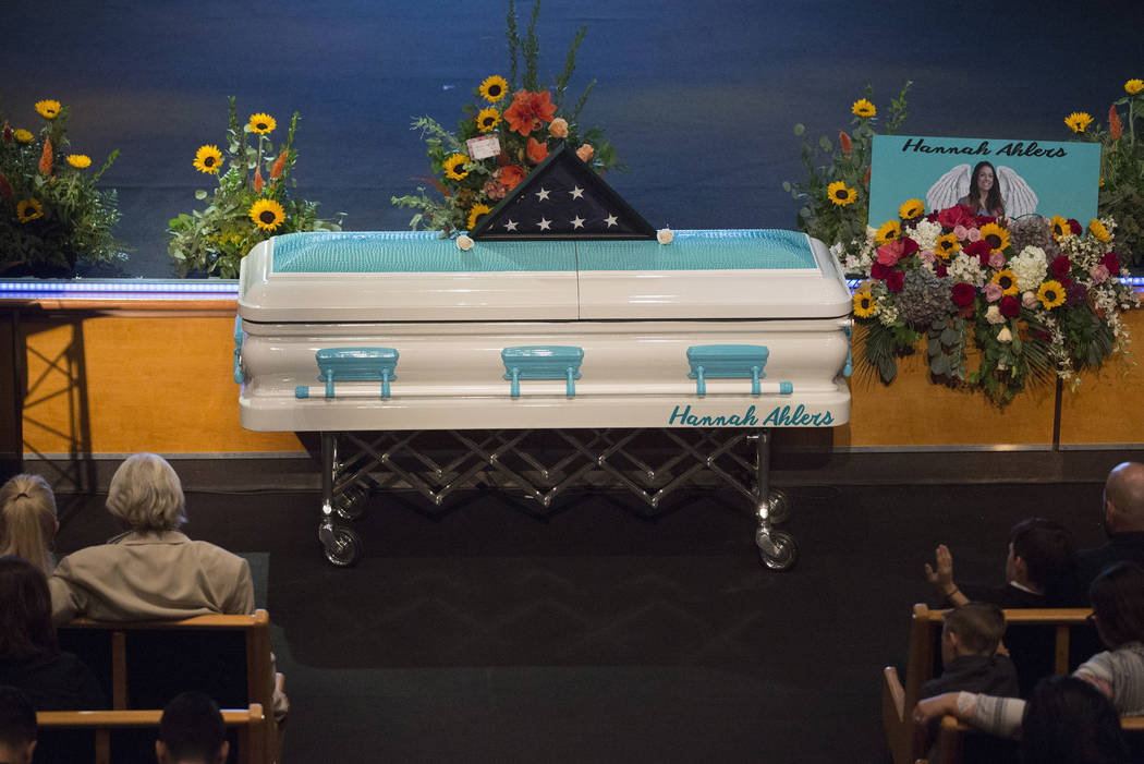 Family and friends gather for the funeral of Hannah Ahlers, 34, from Beaumont, California at Harvest Christian Fellowship in Riverside, California Friday, Oct. 13, 2017. Bridget Bennett Las Vegas  ...