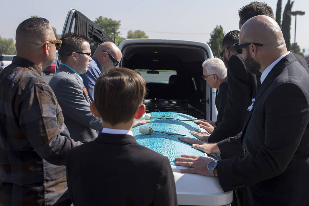 Hannah Ahlers' casket is placed into a hearse after the funeral at Harvest Christian Fellowship in Riverside, California Friday, Oct. 13, 2017. Bridget Bennett Las Vegas Review-Journal @BridgetKBe ...