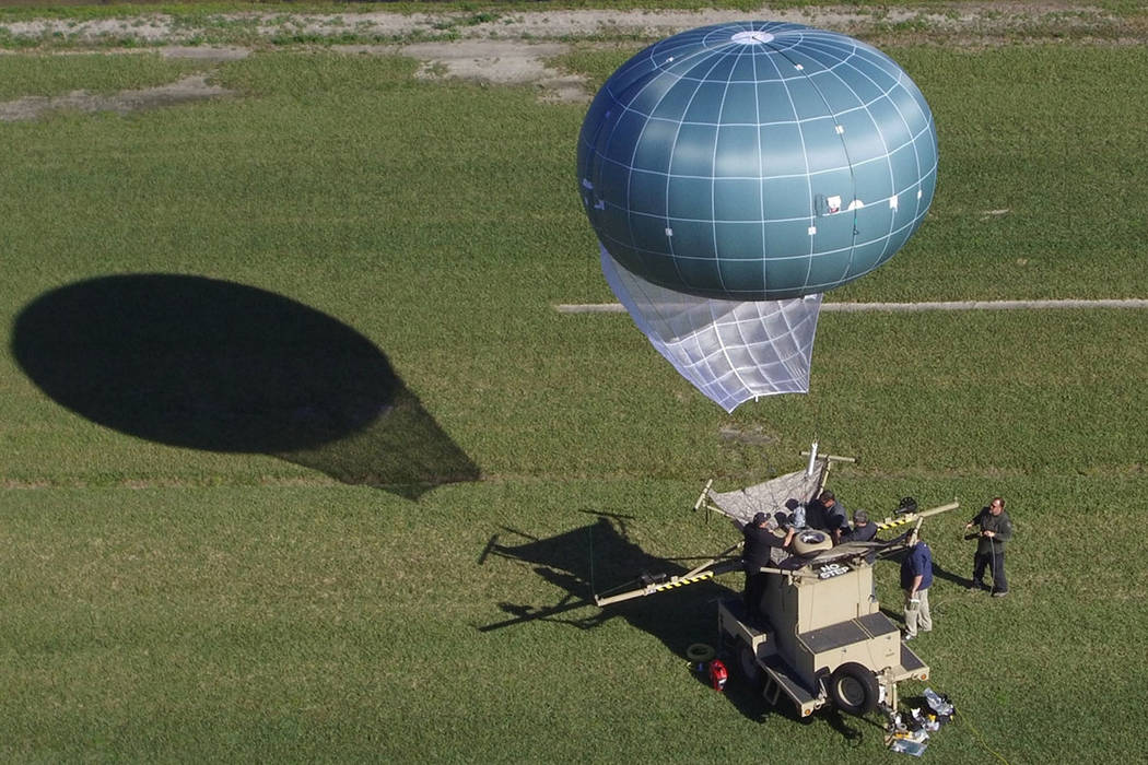A tethered balloon, called Winch Aerostat Small Platform (WASP), is seen. The U.S. Border Patrol is considering another type of surveillance balloon to spot illegal activity. (Drone Aviation Corp. ...