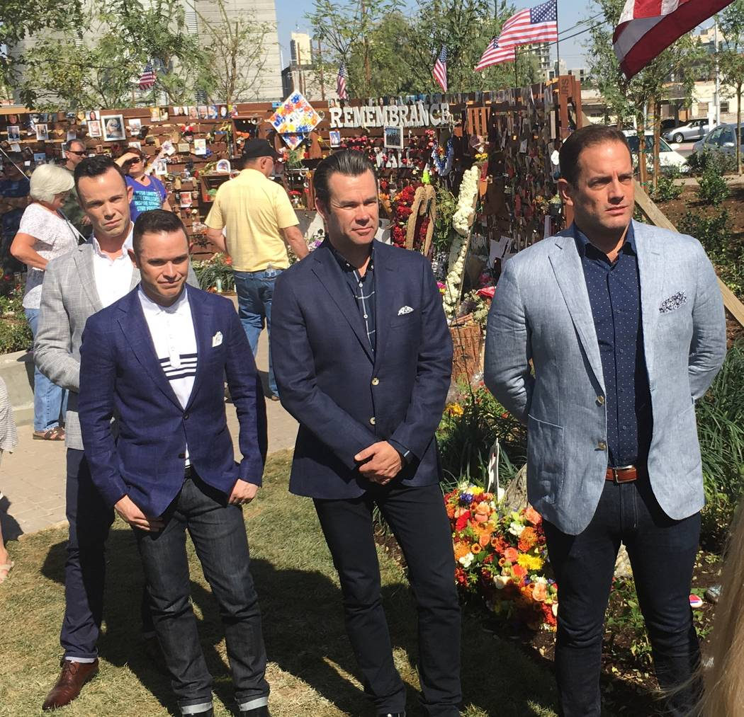 Members of Human Nature, from left, Andrew Tierney, Michael Tierney, Phil Burton and Toby Allen are shown at Las Vegas Healing Garden and Remembrance Wall in the Arts District on Thursday, Oct. 12 ...