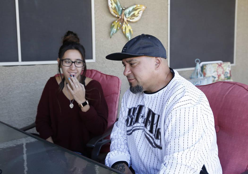 Gus Ronolo speaks during an interview as his daughter Nikita looks on Monday, Oct. 16, 2017, in Las Vegas. Bizuayehu Tesfaye Las Vegas Review-Journal @bizutesfaye