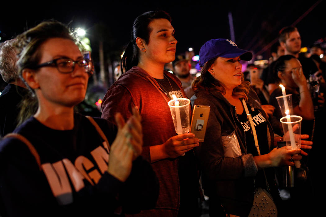 Thousands walk on Strip to remember Las Vegas shooting victims