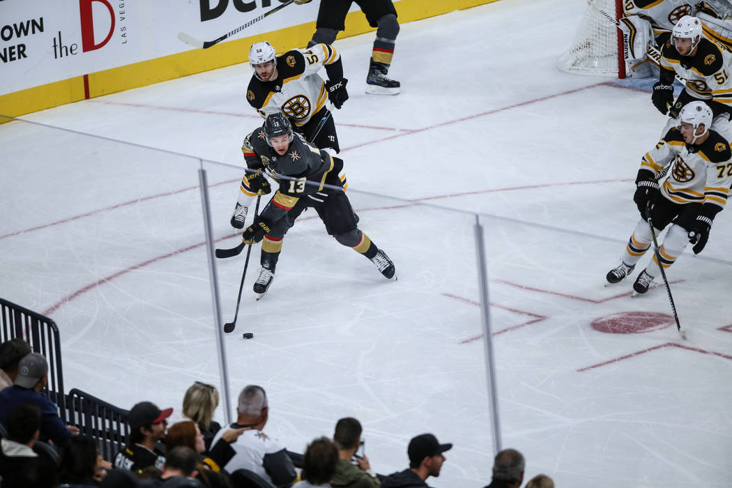 Vegas Golden Knights left wing Brendan Leipsic (13) skates past the Boston Bruins during the first period of an NHL hockey game at T-Mobile Arena in Las Vegas, Sunday, Oct. 15, 2017. Joel Angel Ju ...