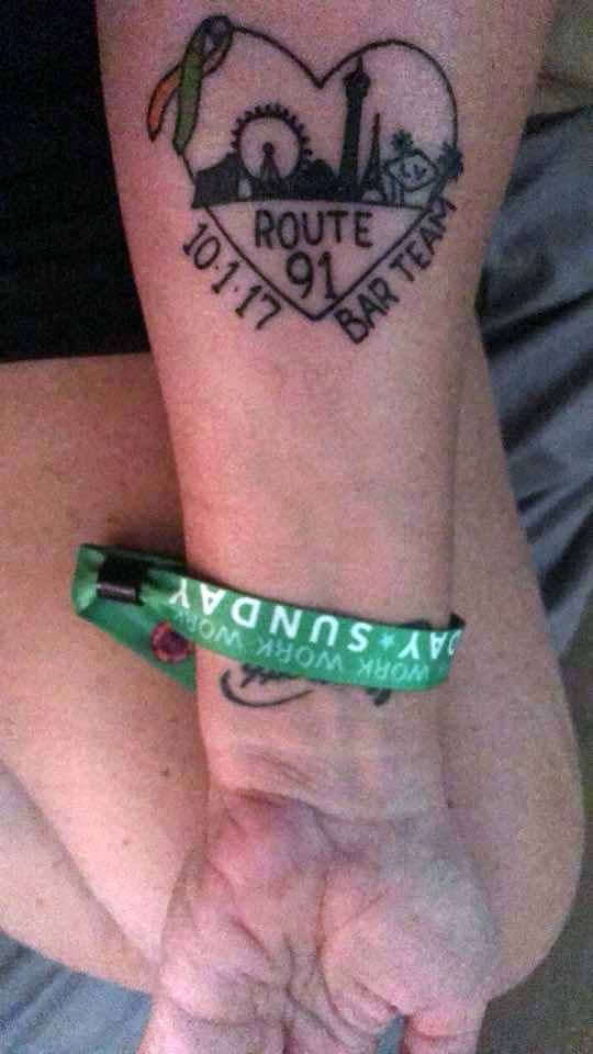 My new Route 91 tattoo! Vegas strong! Photo submitted by Heather Gooze.