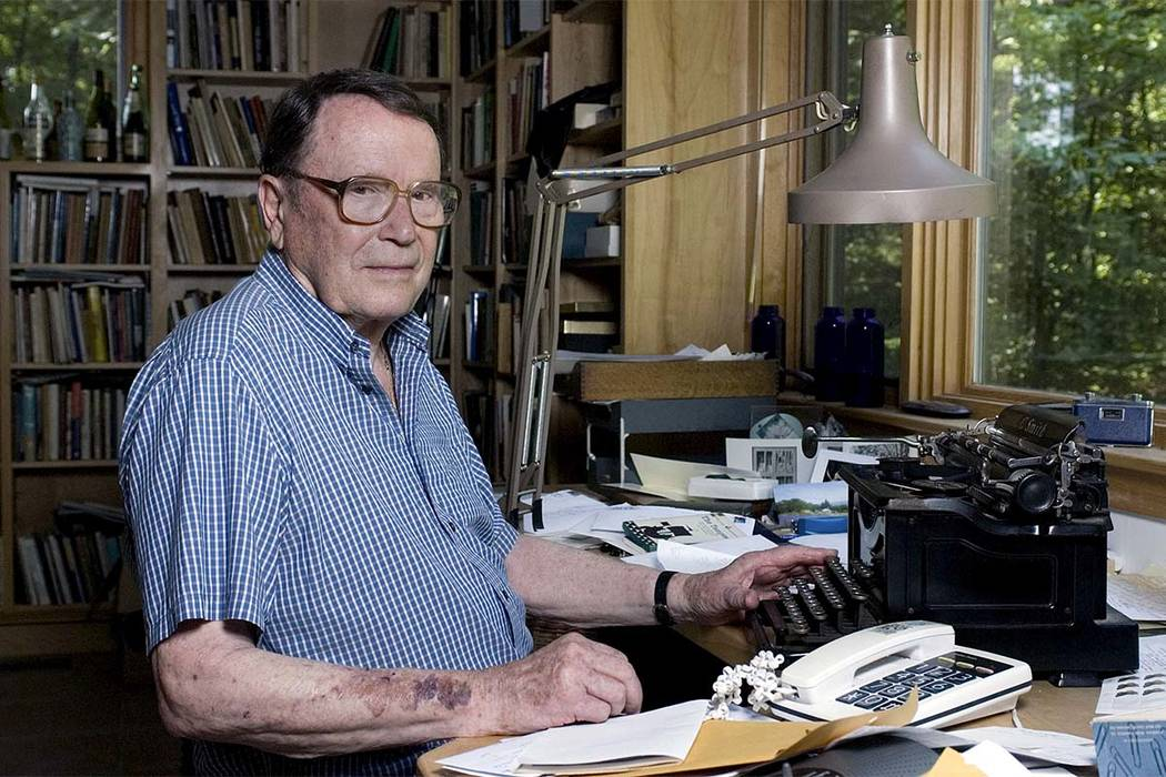 In this July 18, 2006, file photo, poet Richard Wilbur poses for a photo at his home in Cummington, Massachusetts. Wilbur, the Pulitzer Prize-winning poet and translator who intrigued and delighte ...