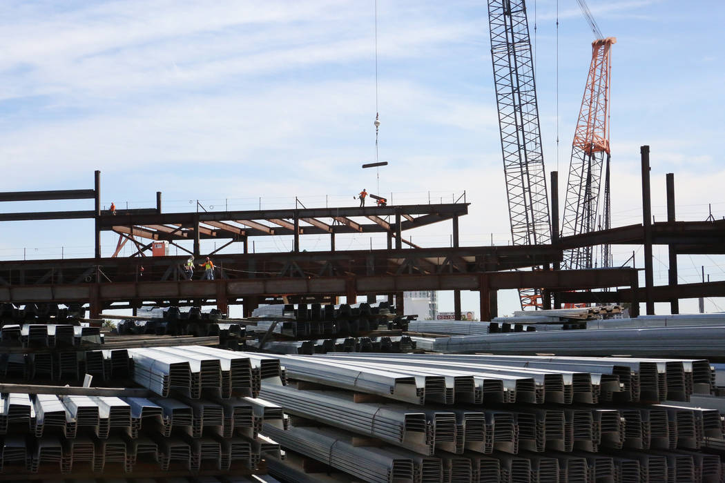 Construction workers commence development on the 3,000-room hotel-casino Resorts World Las Vegas project located on Las Vegas Boulevard South on Monday Oct. 16, 2017. Michael Quine/Las Vegas Revie ...