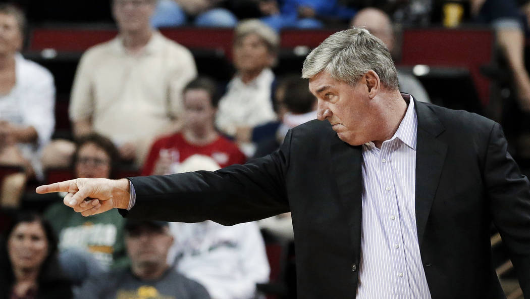New York Liberty head coach Bill Laimbeer directs his team against the Seattle Storm in the first half of a WNBA basketball game Thursday, July 6, 2017, in Seattle. (AP Photo/Elaine Thompson)