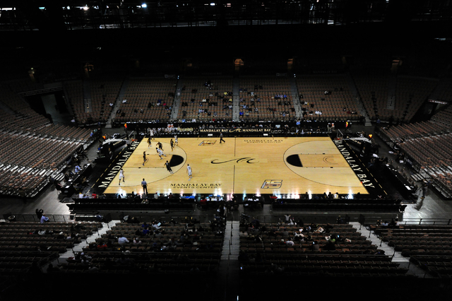 The Mandalay Bay Events Center is seen during a Vegas 16 college basketball game between Oakland and ETSU in the second half of their NCAA college basketball game at Mandalay Bay Events Center in  ...