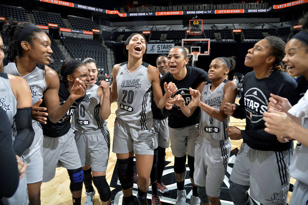 SAN ANTONIO, TX - AUGUST 1: The San Antonio Stars huddle up after the game against the New York Liberty during a WNBA game on August 1, 2017 at the AT&T Center in San Antonio, Texas. NOTE TO U ...