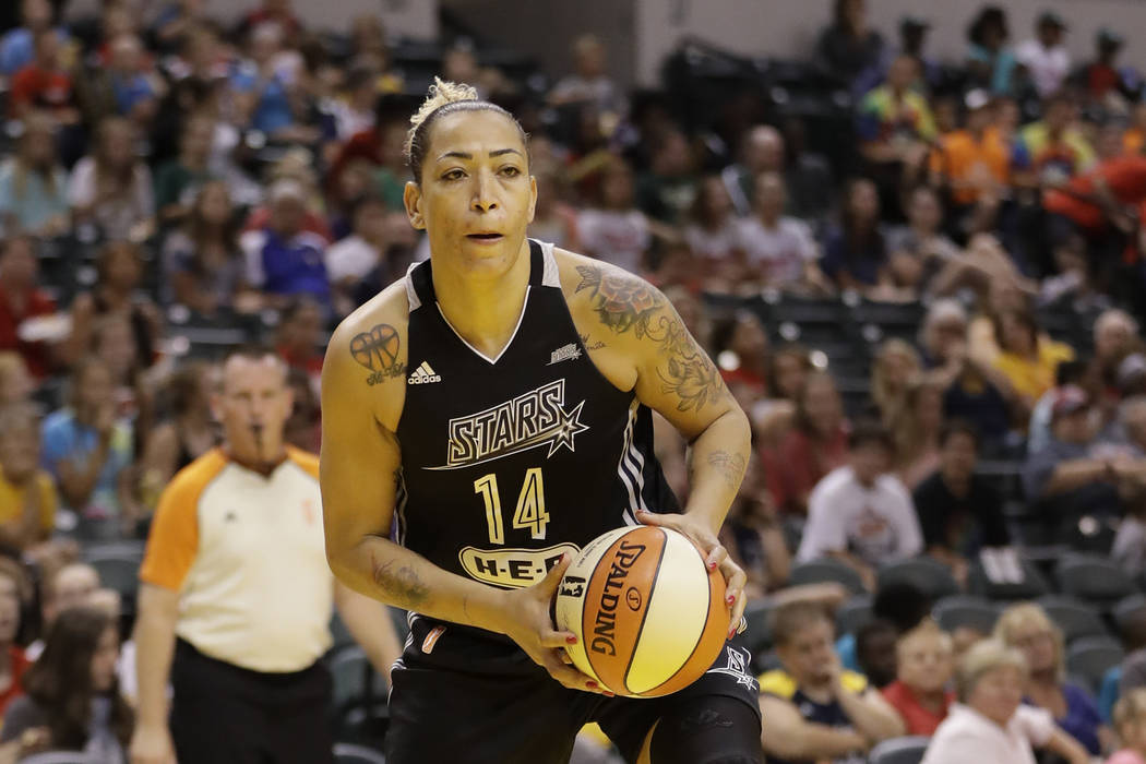 San Antonio Stars' Erika de Souza (14) in action during the first half of a WNBA basketball game against the Indiana Fever, Wednesday, July 12, 2017, in Indianapolis. (AP Photo/Darron Cummings)