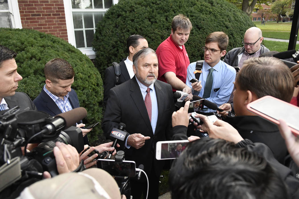 Steve Pence, attorney for basketball coach Rick Pitino, speaks to reporters following the closed door meeting of the Louisville Athletic Association, Monday, Oct. 16, 2017, in Louisville, Ky. (AP  ...