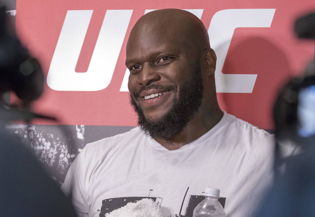 UFC heavyweight Derrick Lewis talks to media at an open workout session in Dallas, Texas, on May 11, 2017, about facing Mark Hunt at UFC Fight Night 110 in Auckland, New Zealand. Heidi Fang/Las Ve ...