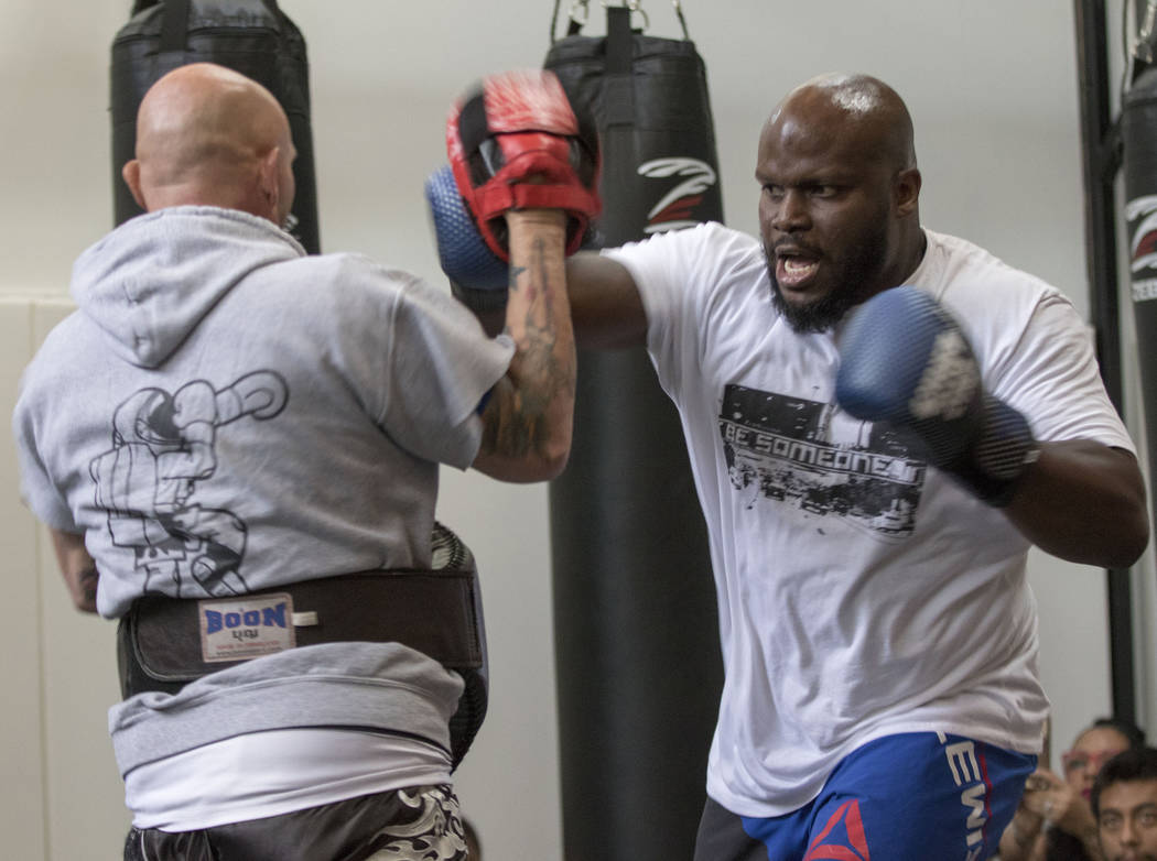 UFC heavyweight Derrick Lewis hits mitts at an open workout in Dallas, Texas, on May 11, 2017, ahead of fighting Mark Hunt at UFC Fight Night 110 in Auckland, New Zealand. Heidi Fang/Las Vegas Rev ...