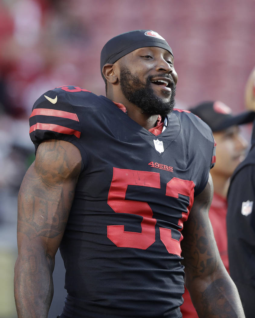 San Francisco 49ers linebacker NaVorro Bowman (53) warms up before an NFL football game against the Los Angeles Rams in Santa Clara, Calif., Thursday, Sept. 21, 2017. (AP Photo/Marcio Jose Sanchez)