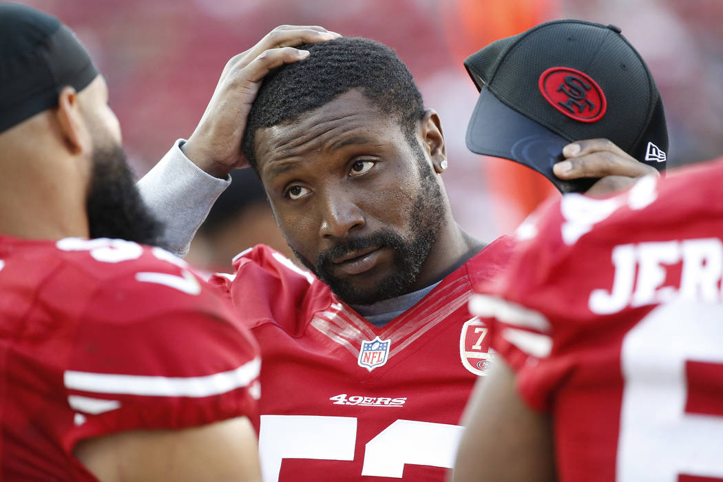 In this Aug. 14, 2016, file photo, San Francisco 49ers inside linebacker NaVorro Bowman standing on the sidelines during the second half of an NFL preseason football game in Santa Clara, Calif. (A ...