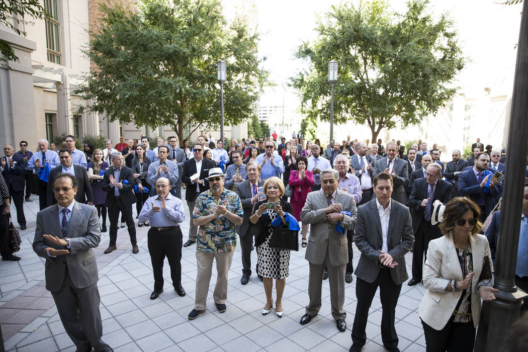 Supporters attend the campaign announcement for re-election for Clark County District Attorney Steve Wolfson at the Smith Center in Las Vegas, Tuesday, Oct. 17, 2017. Erik Verduzco Las Vegas Revie ...
