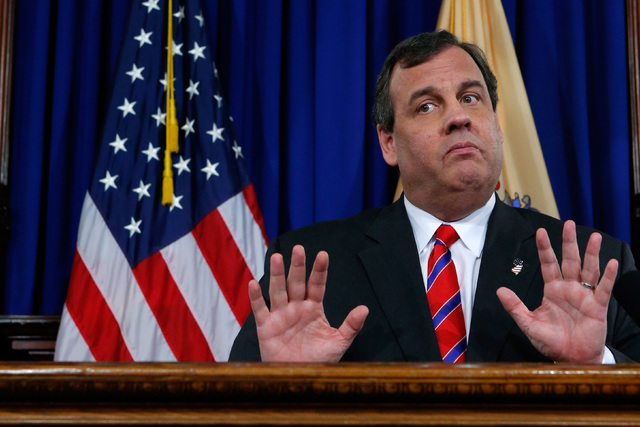 New Jersey Gov. Chris Christie reacts to a question during a news conference in Trenton, New Jersey, in March 28, 2014. (Eduardo Munoz/Reuters)