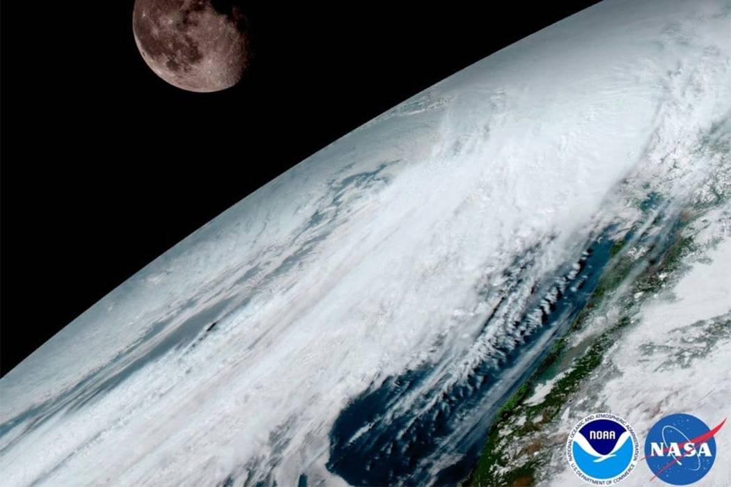 A new satellite transmitted its first images back to Earth in January. In the Jan. 15 image, the moon hangs over the Pacific Northwest. Photo provided by NOAA-NASA
