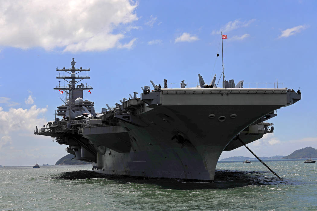 In this Oct. 2, 2017 file photo, USS Ronald Reagan aircraft carrier arrives in Hong Kong. South Korean and U.S. troops launched five days of naval drills on Monday, Oct. 16, 2017, three days after ...