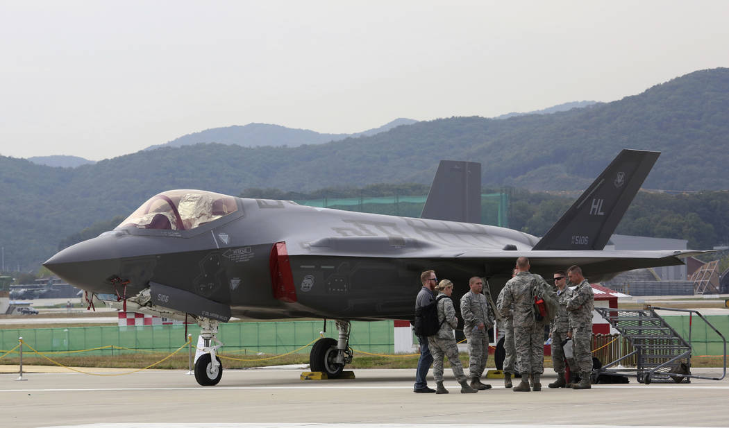 A U.S. F-35 stealth fighter is seen during the press day of the 2017 Seoul International Aerospace and Defense Exhibition at Seoul Airport in Seongnam, South Korea, Monday, Oct. 16, 2017. South Ko ...