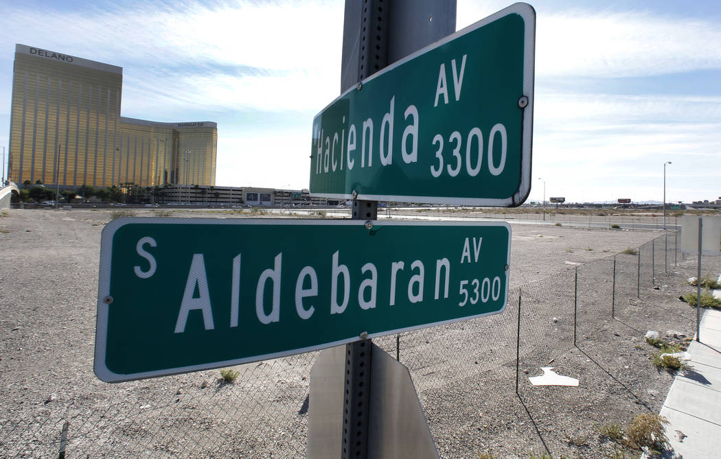 Street signs for Aldebaran and Hacienda avenues on the Las Vegas Stadium site Tuesday, Oct. 17, 2017. The Clark County Commission on Wednesday will formally abandon Aldebaran Avenue. Bizuayehu Tes ...