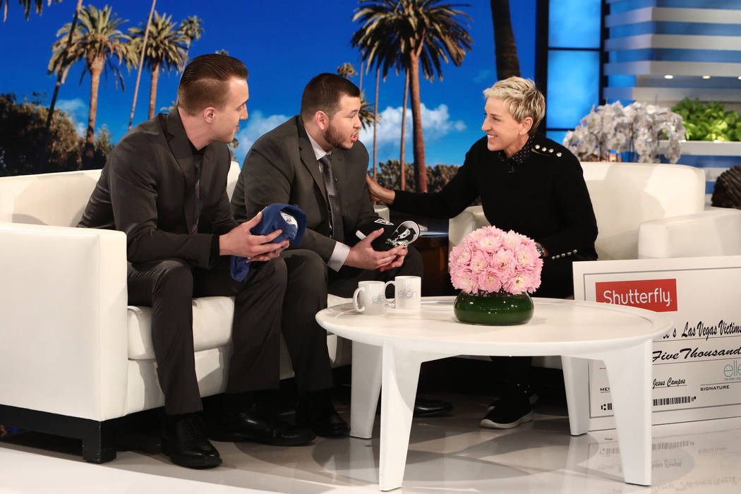 Ellen Degeneres, right, sits down with Mandalay Bay security officer Jesus Campos, center, and building engineer Stephen Schuck, left, who were the first people to encounter Stephen Paddock on the ...