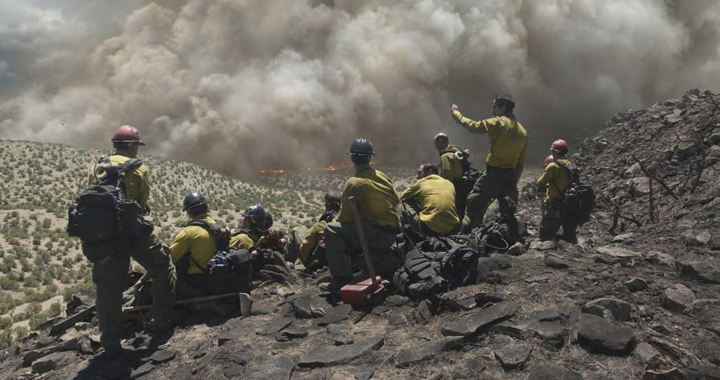 "The Granite Mountain Hotshots overlook a fire in Columbia Pictures' ""Only the Brave."" Sony Pictures"