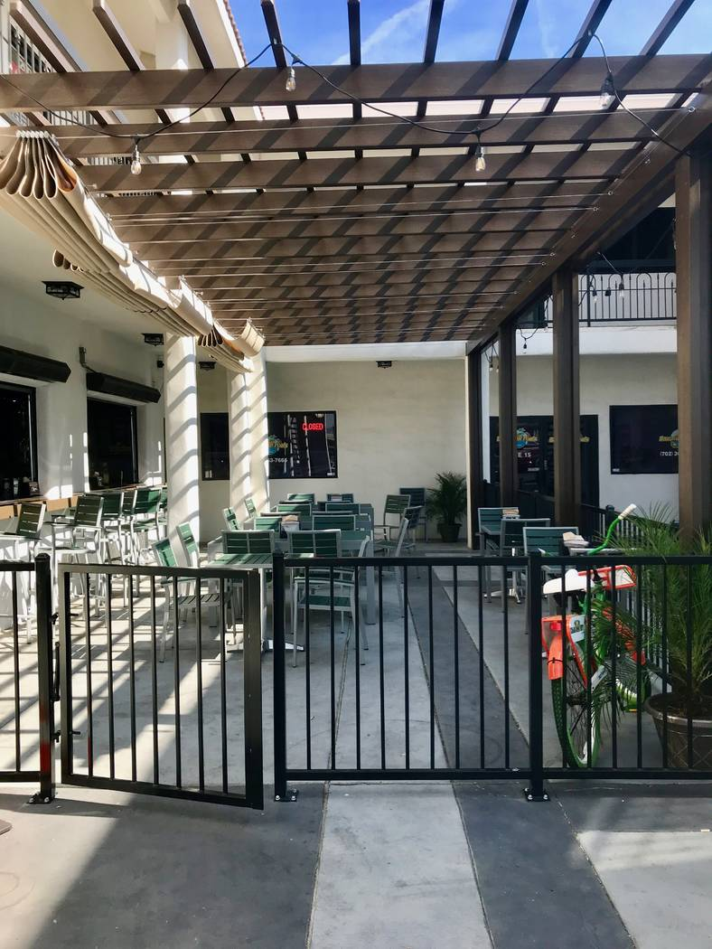 The Cheba Hut at the Sahara Rainbow Center has both indoor and outdoor seating. The full bar is capable of serving the outdoor seating area through two garage door windows. (Madelyn Reese/View) @M ...