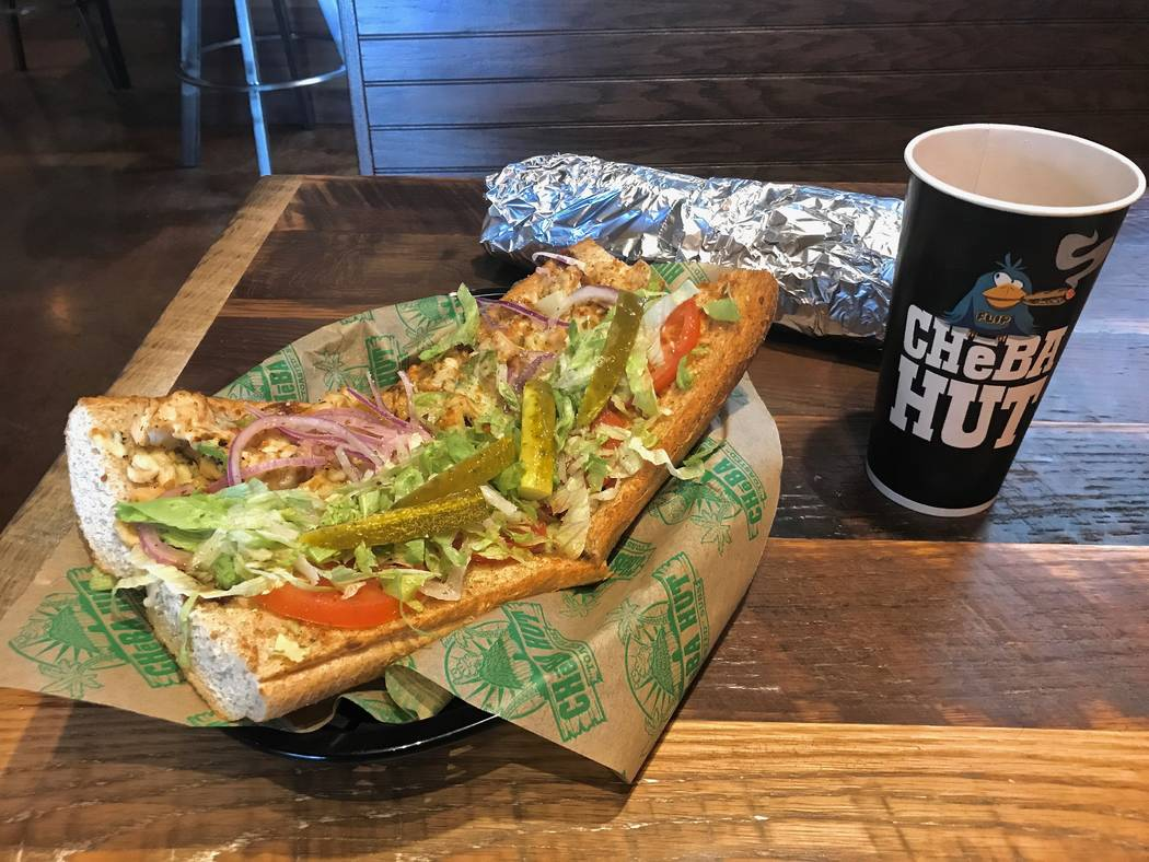 """The 12-inch """"Thai Stick"""" (teriyaki chicken, green peppers, pineapple and pepper jack, $10) (Madelyn Reese/View) @MadelynGReese"""