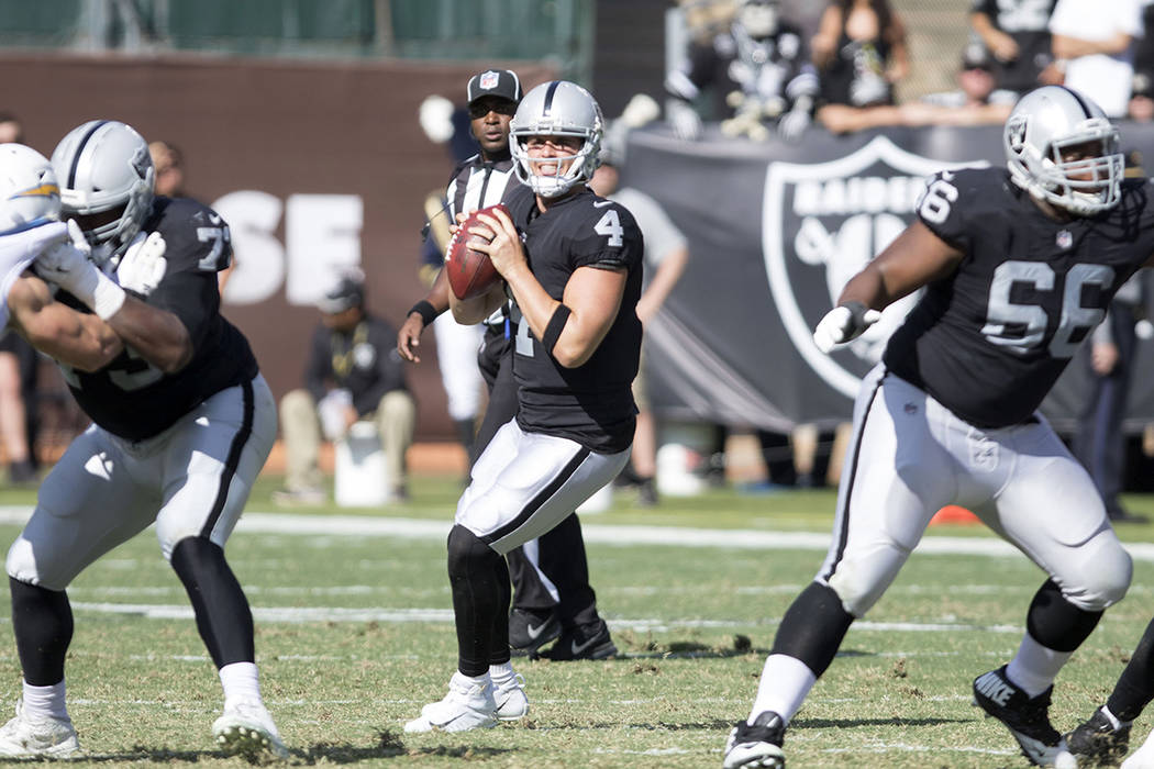 Oakland Raiders quarterback Derek Carr (4) prepares to throw the football during the first half of their game against the Los Angeles Chargers in Oakland, Calif., Sunday, Oct. 15, 2017. Heidi Fang ...