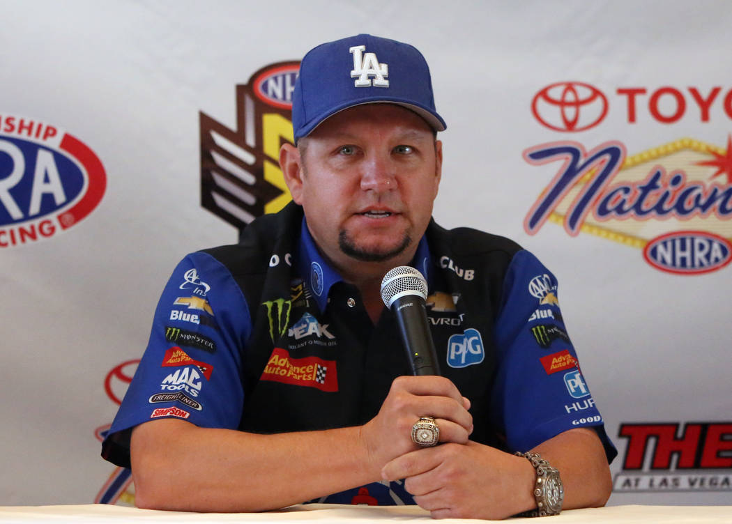 Robert Hight, driver of the Auto Club of Souther California Chevy Camaro Funny Car, speaks during the NHRA Mellow Yellow Drag Racing Series official event press conference Thursday, Oct. 26, 2017, ...