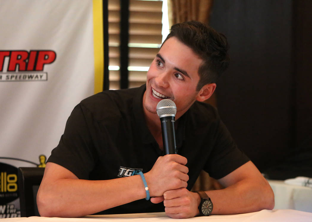 Tanner Gray, driver of the Gray Motorsports Valvoline Chevy Camaro, speaks during the NHRA Mellow Yellow Drag Racing Series official event press conference Thursday, Oct. 26, 2017, in Las Vegas. B ...