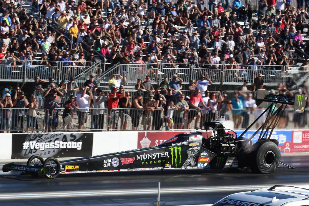 NHRA Top Fuel dragster driver Brittany Force makes a pass during the third round of qualifying race for the Mello Yello NHRA Toyota Nationals at The Strip at Las Vegas Motor Speedway on Saturday,  ...