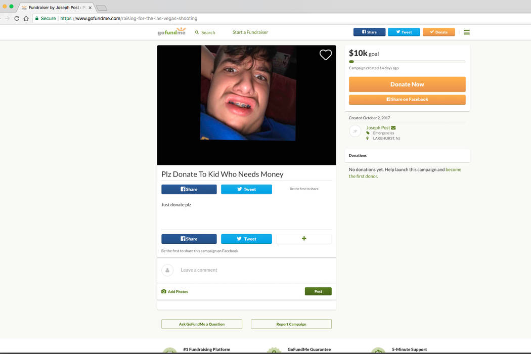 A crowdfunding web page is shown Oct. 16, 2017. The page has since been taken down. GoFundMe