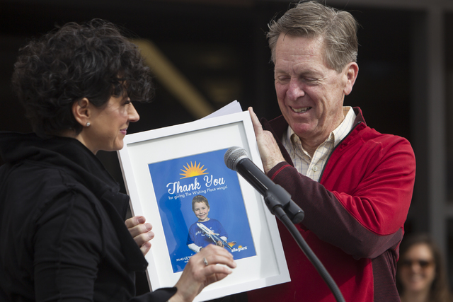 Caroline Ciocca, left, CEO of Make-A-Wish Souther Nevada, and Maury Gallagher, CEO on Allegiant Air , during the Make-A-Wish Southern Nevada headquarters opening ceremony event on Friday, Feb. 10, ...