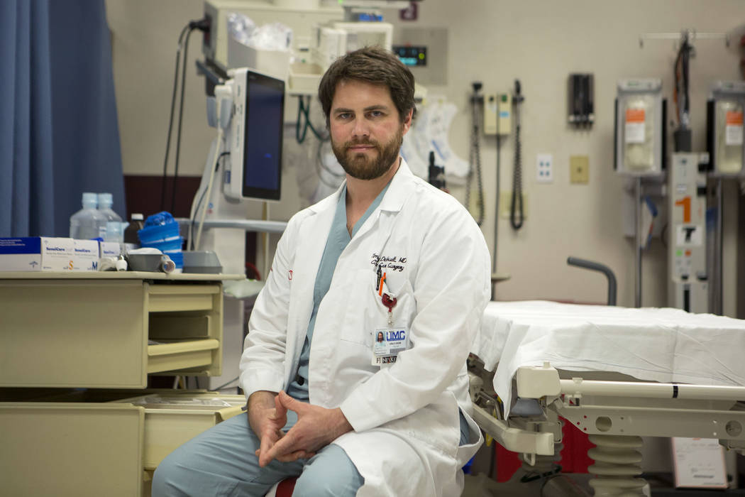 University Medical Center Trauma fellow Dr. Timothy Dickhudt at UMC Trauma Center in Las Vegas, Wednesday, Oct. 18, 2017. Dickhudt, learned a man he operated on after the Oct. 1 shooting was a Min ...