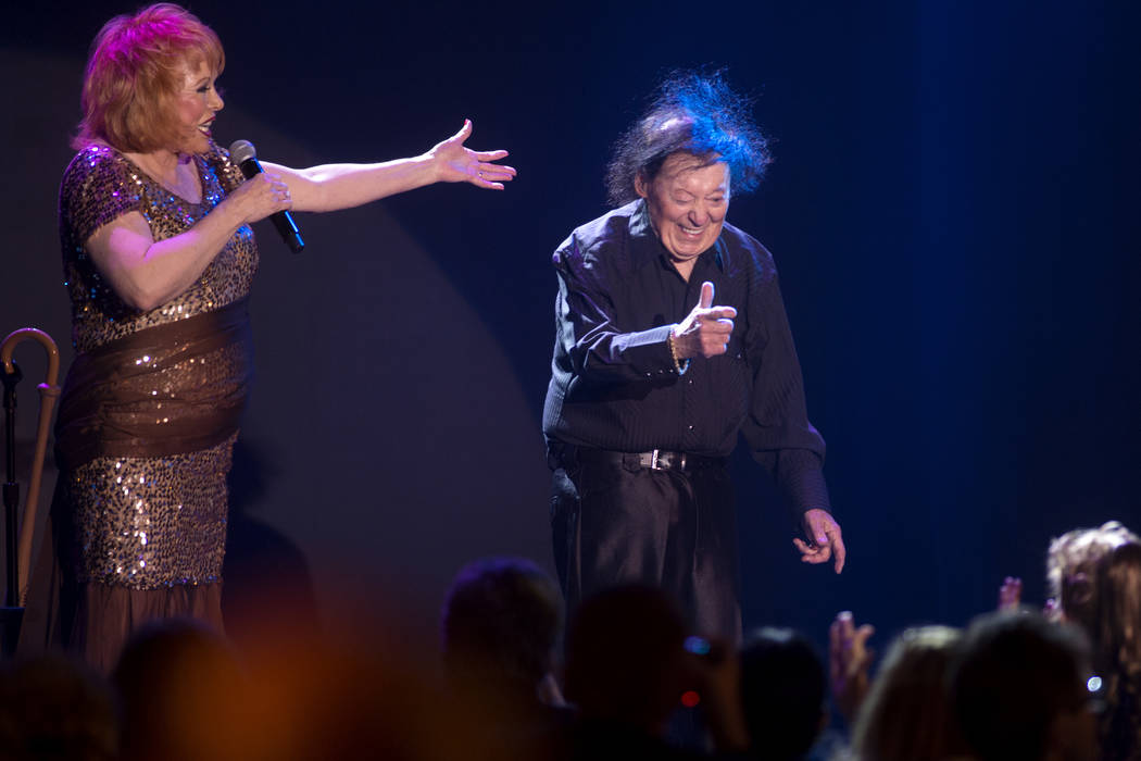 Comedian Marty Allen and wife Karon Kate Blackwell celebrate his 95th birthday with a show at South Point on Thursday, March 23, 2017, in Las Vegas. (Sam Morris/Las Vegas News Bureau)