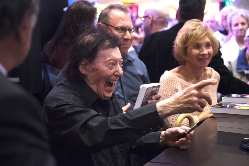 Comedian Marty Allen greets a fan after celebrating his 95th birthday with a show at South Point on Thursday, March 23, 2017, in Las Vegas. (Sam Morris/Las Vegas News Bureau)