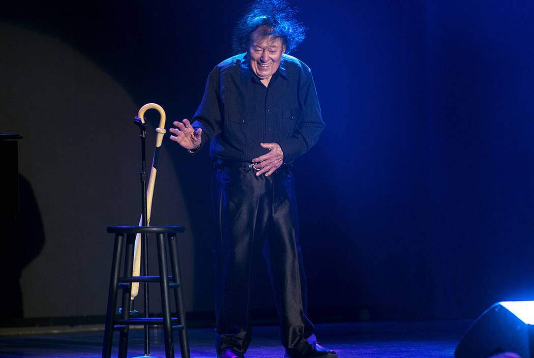 Comedian Marty Allen performs a little dance to celebrate his 95th birthday during a show at the South Point Thursday, March 23, 2017. CREDIT: Sam Morris/Las Vegas News Bureau